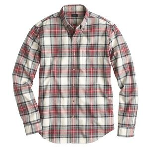 jcrew/ vintage oxford shirt washed red plaid